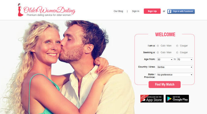 Older Women Dating homepage